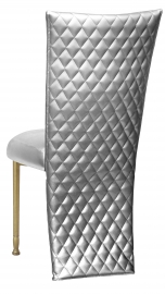 Silver Quilted Leatherette Jacket and Silver Stretch Vinyl Boxed Cushion on Gold Legs
