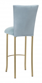 Ice Blue Suede Barstool Cover and Cushion on Gold Legs