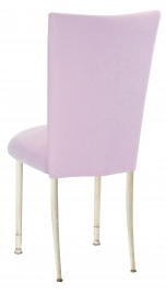 Soft Pink Velvet Chair Cover on Ivory Legs