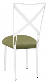 Simply X White with Olive Velvet Cushion