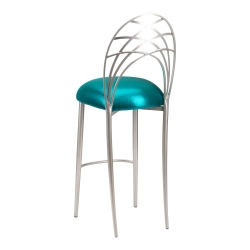 Silver Piazza Barstool with Metallic Teal Stretch Knit Cushion