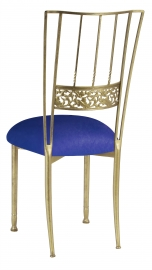 Gold Bella Fleur with Royal Blue Stretch Knit Cushion