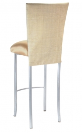 Parchment Linette 3/4 Barstool Cover with Toffee Stretch Knit Cushion on Silver Legs