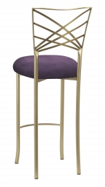 Gold Fanfare Barstool with Lilac Suede Cushion