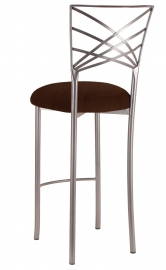 Silver Fanfare Barstool with Chocolate Suede Cushion