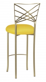Gold Fanfare Barstool with Bright Yellow Knit Cushion