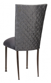 Charcoal Diamond Tufted Taffeta Chair Cover with Charcoal Suede Cushion on Mahogany Legs