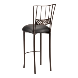 Bella Fleur Mahogany Barstool with Black Leatherette Cushion