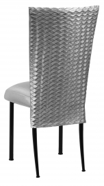 Charcoal Taffeta Scales 3/4 Chair Cover with Boxed Cushion on Black Legs