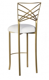 Gold Fanfare Barstool with White Suede Cushion