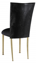 Black Croc Chair Cover with Black Stretch Knit Cushion on Gold Legs