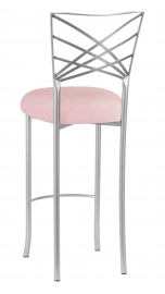 Silver Fanfare Barstool with Pink Sparkle Velvet