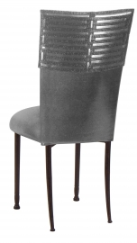 Head Dress wtih Gunmetal Stretch Knit Cushion on Mahogany Legs