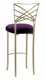 Gold Fanfare Barstool with Deep Purple Velvet Cushion