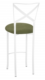 Simply X White Barstool with Sage Suede Cushion