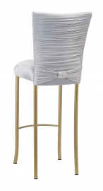 Chloe Silver Stretch Knit Barstool Cover with Rhinestone Accent Band and Cushion on Gold Legs
