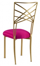 Gold Fanfare with Fuchsia Satin Cushion