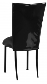 Black Patent Leather Chair Cover with Black Stretch Knit Cushion