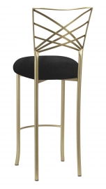 Gold Fanfare Barstool with Black Suede Cushion
