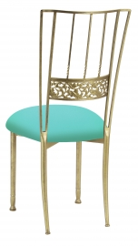 Gold Bella Fleur with Aqua Stretch Knit Cushion