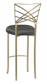Gold Fanfare Barstool with Charcoal Suede Cushion
