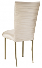 Chloe Ivory Stretch Knit Chair Cover and Cushion on Gold Legs