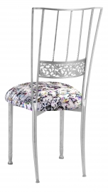 Silver Bella Fleur with White Paint Splatter Knit Cushion