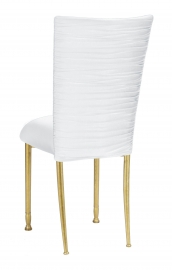 Chloe White Stretch Knit Chair Cover and Cushion on Gold Legs