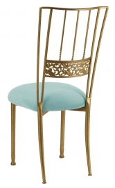 Gold Bella Fleur with Ice Blue Suede Cushion