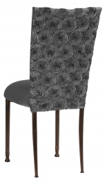 Pewter Circle Ribbon Taffeta Chair Cover with Charcoal Suede Cushion on Mahogany Legs