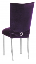 Deep Purple Velvet Chair Cover with Jewel Band and Cushion on Silver Legs