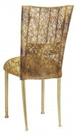 Gold Bella Fleur with Gold Lace Chair Cover and Gold Lace over Gold Stretch Knit Cushion