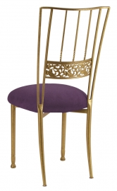 Gold Bella Fleur with Lilac Suede Cushion