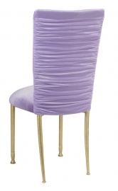 Chloe Lavender Velvet Chair Cover and Cushion on Gold Legs