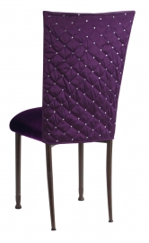 Purple Diamond Tufted Taffeta Chair Cover with Deep Purple Velvet Cushion on Mahogany Legs