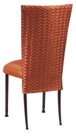 Orange Taffeta Scales 3/4 Chair Cover with Boxed Cushion on Mahogany Legs