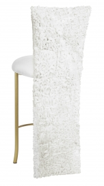 White Wedding Lace Barstool Jacket with White Knit Cushion on Gold Legs
