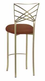 Gold Fanfare Barstool with Cognac Suede Cushion