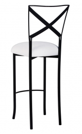 Blak. Barstool with White Stretch Knit Cushion