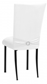 White Suede Chair Cover with Jewel Belt and Cushion on Black Legs