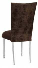 Durango Chocolate Leatherette with Chocolate Suede Cushion on Silver Legs