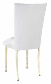White Croc Chair Cover with White Stretch Knit Cushion on Ivory Legs