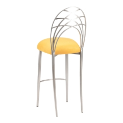 Silver Piazza Barstool with Canary Suede Cushion