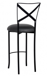 Blak. Barstool with Black Leatherette Cushion