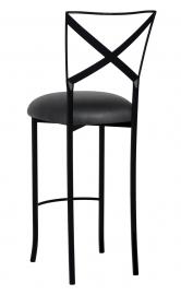 Blak. Barstool with Black Leatherette Cushion