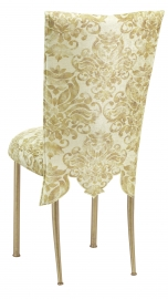 Ravena Chenille Empire Cut Chair Cover with Boxed Cushion on Gold Legs