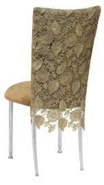 Burlap Chantilly 3/4 Chair Cover with Camel Suede Cushion on Silver Legs