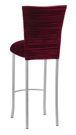 Cranberry Velvet Chloe Barstool Cover and Cushion on Silver Legs