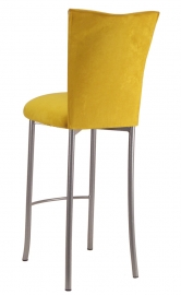Canary Suede Cushion on Silver Legs