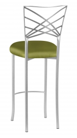 Silver Fanfare Barstool with Lime Satin Cushion